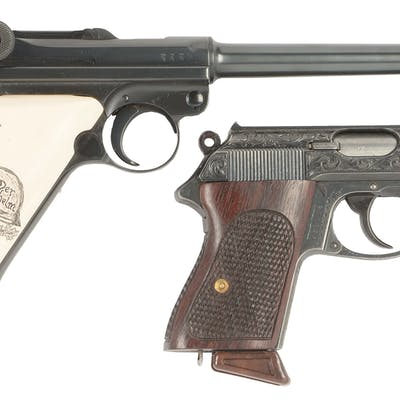 Lot consists of (A) 1915 dated DWM military luger with an...