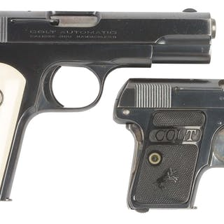 Lot consists of (A) Colt Model 1908 .380 Hammerless manufactured 1911