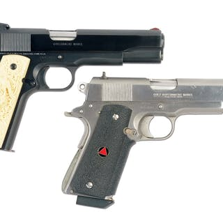 Lot consists of (A) Colt Government MKIV .45 ACP with faux carved ivory grips