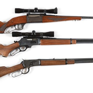 Lot consists of: (A) Savage Model 99 lever action rifle...