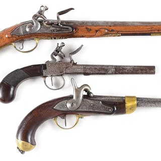Lot consists of (A) Long Flemish flintlock holster pistol...