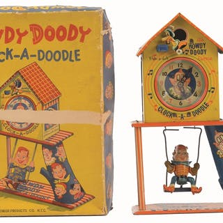 Includes colorful original box showing Howdy on swing and...