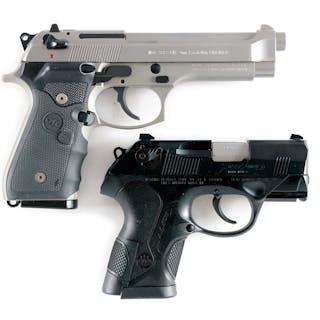 Lot consists of (A) Standard Beretta 92 FS Inox with three dot red combat sights