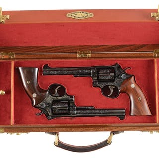 Lot consists of an impressive pair of engraved revolvers date to 1954-55