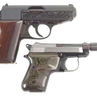 Lot consists of (A) Factory engraved with gold Walther PPK