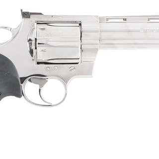 """Beautiful 6"""" bright stainless Anaconda in .44 Magnum with usual barrel markings"""
