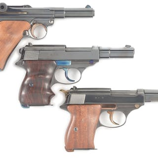 Lot consists of (A) Custom built Luger with heavy barrel