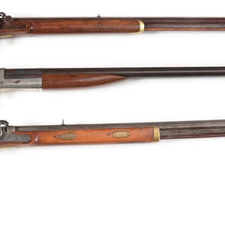Lot consists of (A) Plain maple half stock with brass furniture percussion rifle
