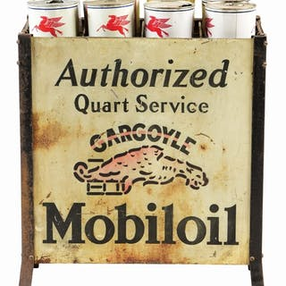 Tin Oil Bottle Rack with four individual signs