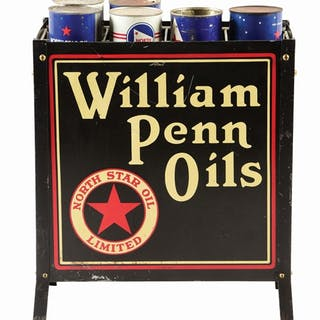 A very rare example of this Tin Oil Bottle Rack from William Penn Motor Oils