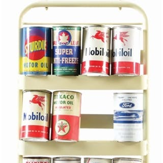 An excellent example of this Oil Can Rack from Champlain Motor Oils