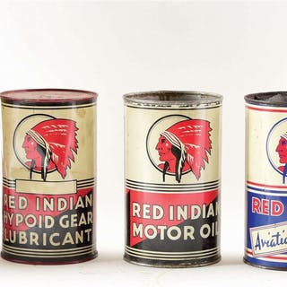 Lot Consists Of: Red Indian Motor Oil Five Quart Can