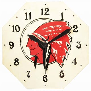 Masonite Clock Face for Red Indian Gasoline & Motor Oils
