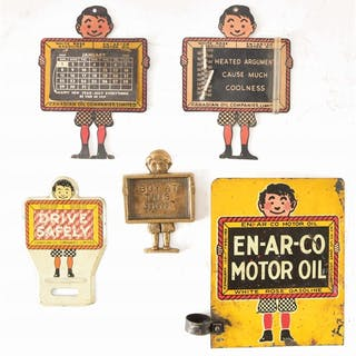 Lot Consists Of: Enarco Slate Boy Embossed Tin License Plate Topper