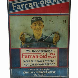 A very rare tin cabinet from Farranoid Fan Belts
