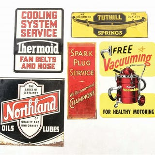 Lot Consists Of: Free Vacuuming Graphic Double Sided Tin Service Station Sign