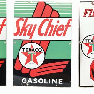 Lot Consists Of: Texaco Sky Chief Gasoline Porcelain Pump Plate