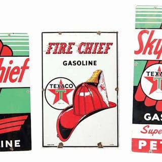 Lot Consists Of: Texaco Fire Chief Gasoline Porcelain Pump Plate