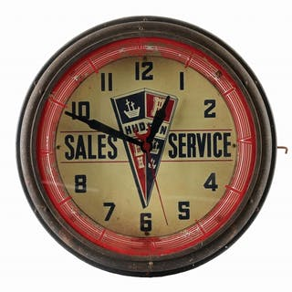 A very nice example of this clock made by Neon Products for Hudson Motorcars