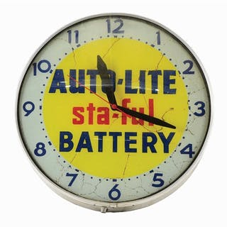 Class Face Light Up Clock made by Lackner For Auto Lite Batteries