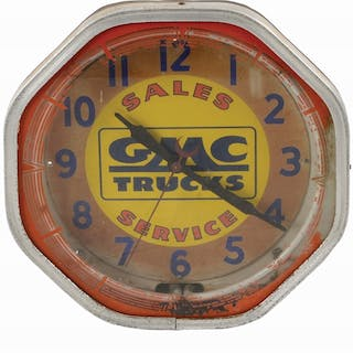 A tough to find clock from GMC Trucks made by Neon Products