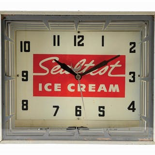 Neon Light Up Store Display Clock for Sealtest Ice Cream made by Neon Products