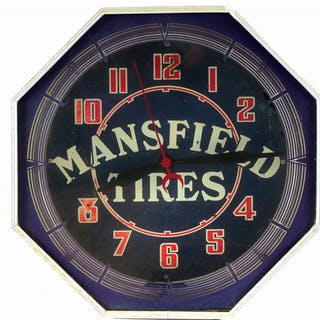 A very tough to find Neon Clock from Mansfield Tires made by Neon Products Co