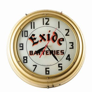 A very nice example of this Glass Face Light Up Clock for Exide Batteries