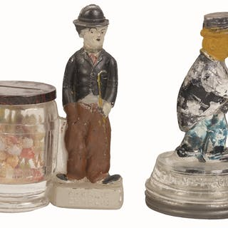 Includes a Charlie Chaplin by Curved Barrel and a Barney Google candy container