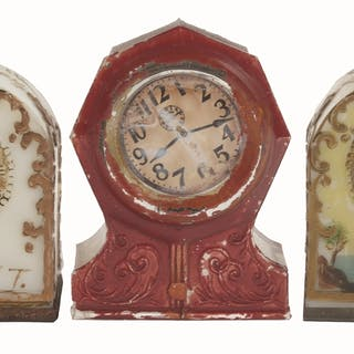 Includes two milk glass clocks and an octagon clock