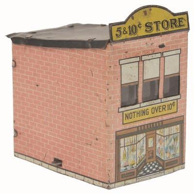 Front shows door and display windows with merchandise