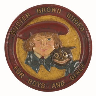 Large sign depicts Buster Brown and his dog Tige in the center