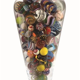 Beautiful vase with number of artist signed marbles