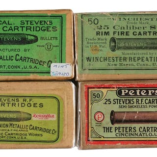 Lot consists of: (A) Tan two piece box with green top and side labels