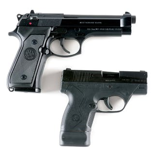 Lot consists of (A) Standard configuration Beretta M9 with dot and post sights