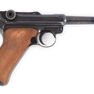 Features include round barrel with dovetailed inverted V front sight