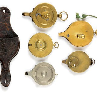 Group of five mechanical brass capping devices for the Colt pattern revolver