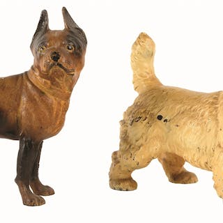 Lot consists of a full-figure Sealyham and a Boston Terrier