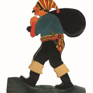 Great depiction of walking pirate with sack thrown over shoulder