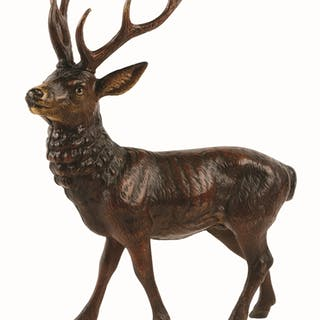 Wonderful detailed casting of full-figure elk with glass eyes