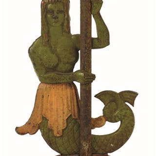 Eye-catching striking form of a mermaid on fluted base