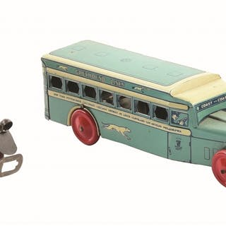 Includes early Girard wind-up Bus with original tin-litho driver