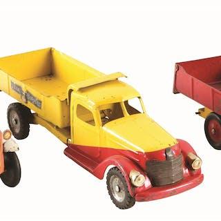 """Lot consists of: a 1934 19"""" Buddy L Dump Truck; second"""