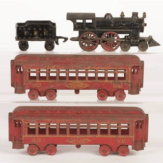 Set consists of: a 4-4-0 Steam Locomotive with a four window cab