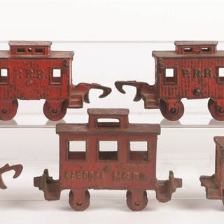 Lot consists of: four Hubley P.R.R Cabooses