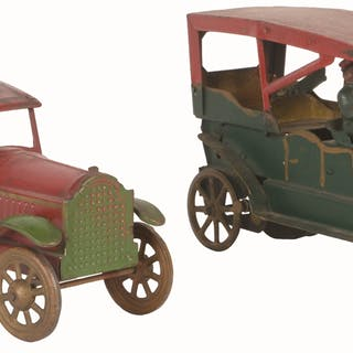 "First is an early 13"" Converse open Phyton Sedan with original cast-iron figures"