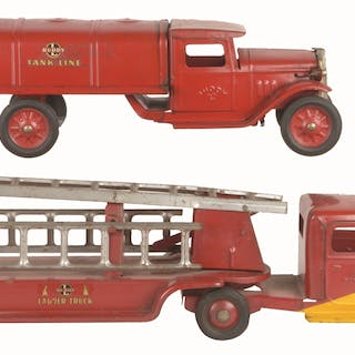 First is a 1934 Buddy L Tank Line Truck with original paint and decals