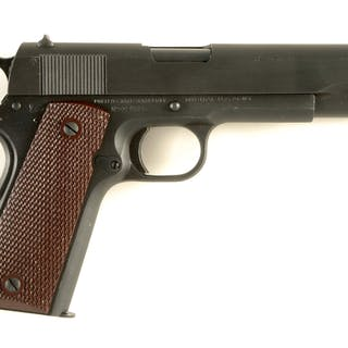 This high condition mid-war Colt features a checkered arched mainspring housing