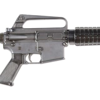 This short and handy full auto AR-15 has telescoping buttstock and short barrel