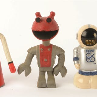 A great group of six space and robot advertising mascots